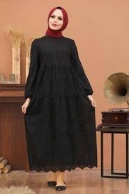 Neva Style - Kol Ucu Lastikli Siyah Tesettür Elbise 1073S - Thumbnail