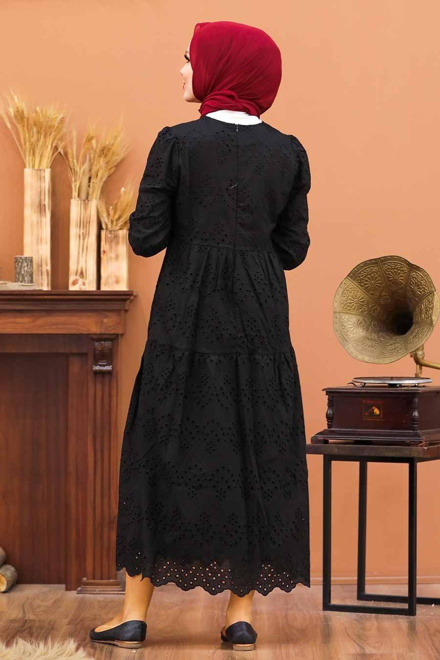 Neva Style - Kol Ucu Lastikli Siyah Tesettür Elbise 1073S