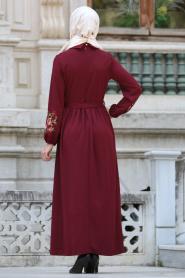 Neva Style - Kolları Çiçek İşlemeli Bordo Tesettür Elbise 41280BR - Thumbnail