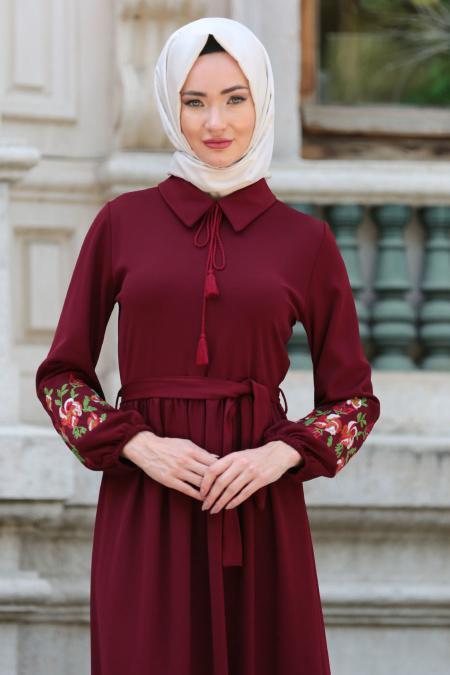Neva Style - Kolları Çiçek İşlemeli Bordo Tesettür Elbise 41280BR