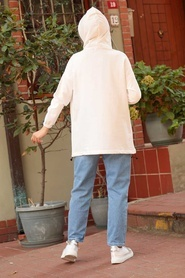 Neva Style - Kot Detaylı Ekru Tesettür Sweatshirt 4132E - Thumbnail