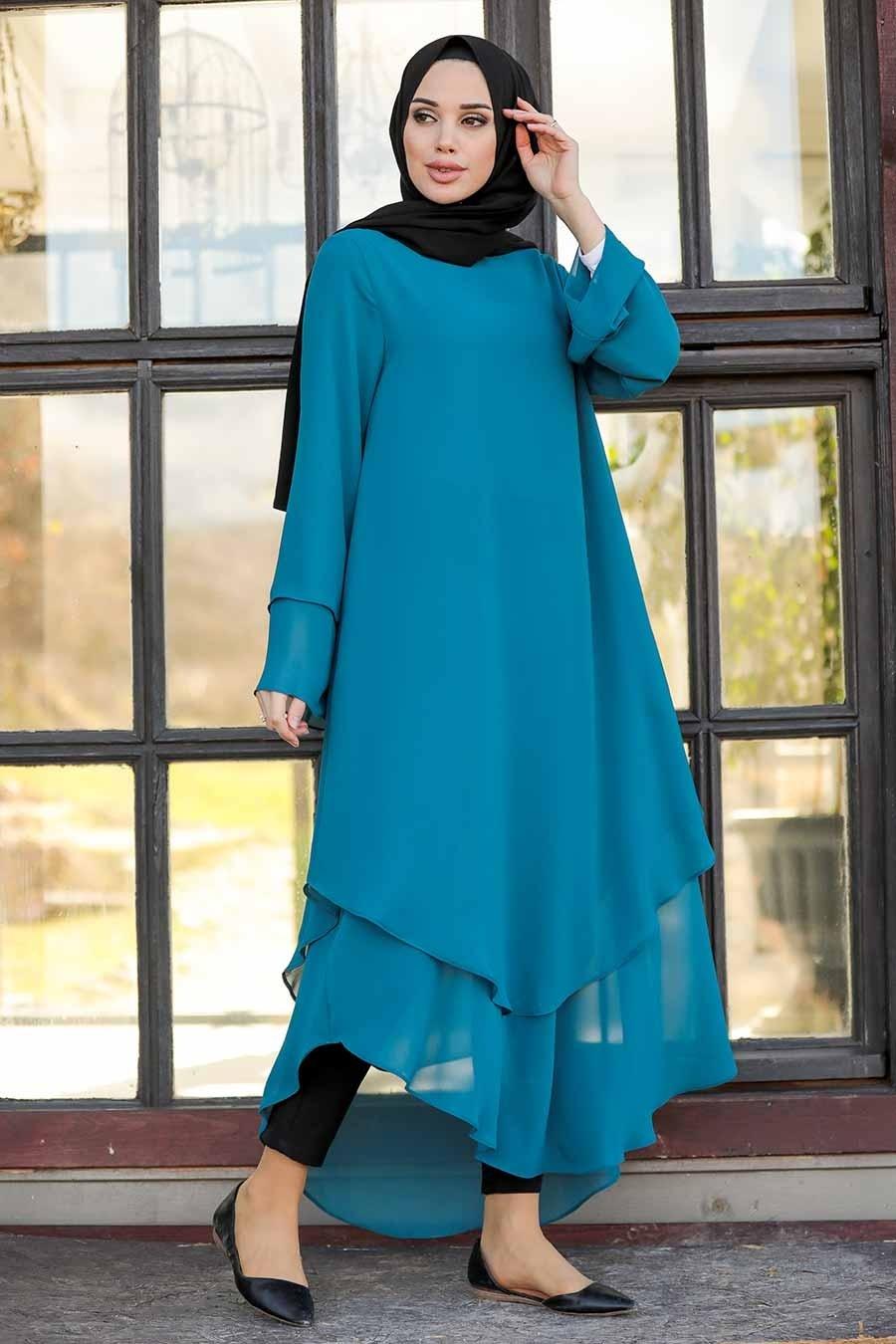 Neva Style - Koyu Petrol Mavisi Tesettür Tunik 33170PM