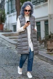 Neva Style - Kürklü Füme Tesettür Şişme Yelek 1363FU - Thumbnail