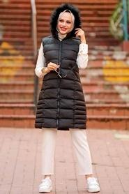 Neva Style - Kürklü Siyah Tesettür Şişme Yelek 1363S - Thumbnail