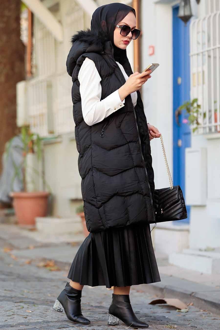 Neva Style - Kürklü Siyah Tesettür Şişme Yelek 1367S