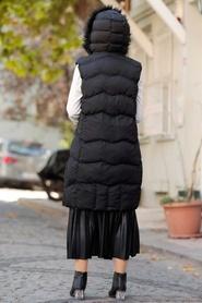 Neva Style - Kürklü Siyah Tesettür Şişme Yelek 1367S - Thumbnail