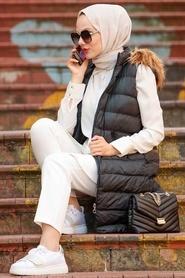 Neva Style - Kürklü Siyah Tesettür Şişme Yelek 166S - Thumbnail