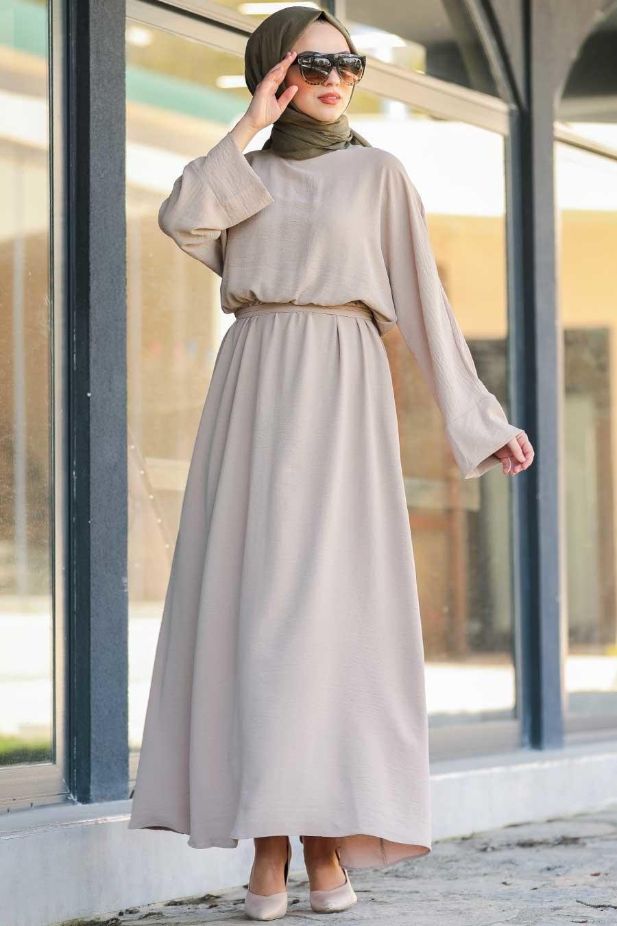 Neva Style - Kuşaklı Bej Tesettür Elbise 5013BEJ