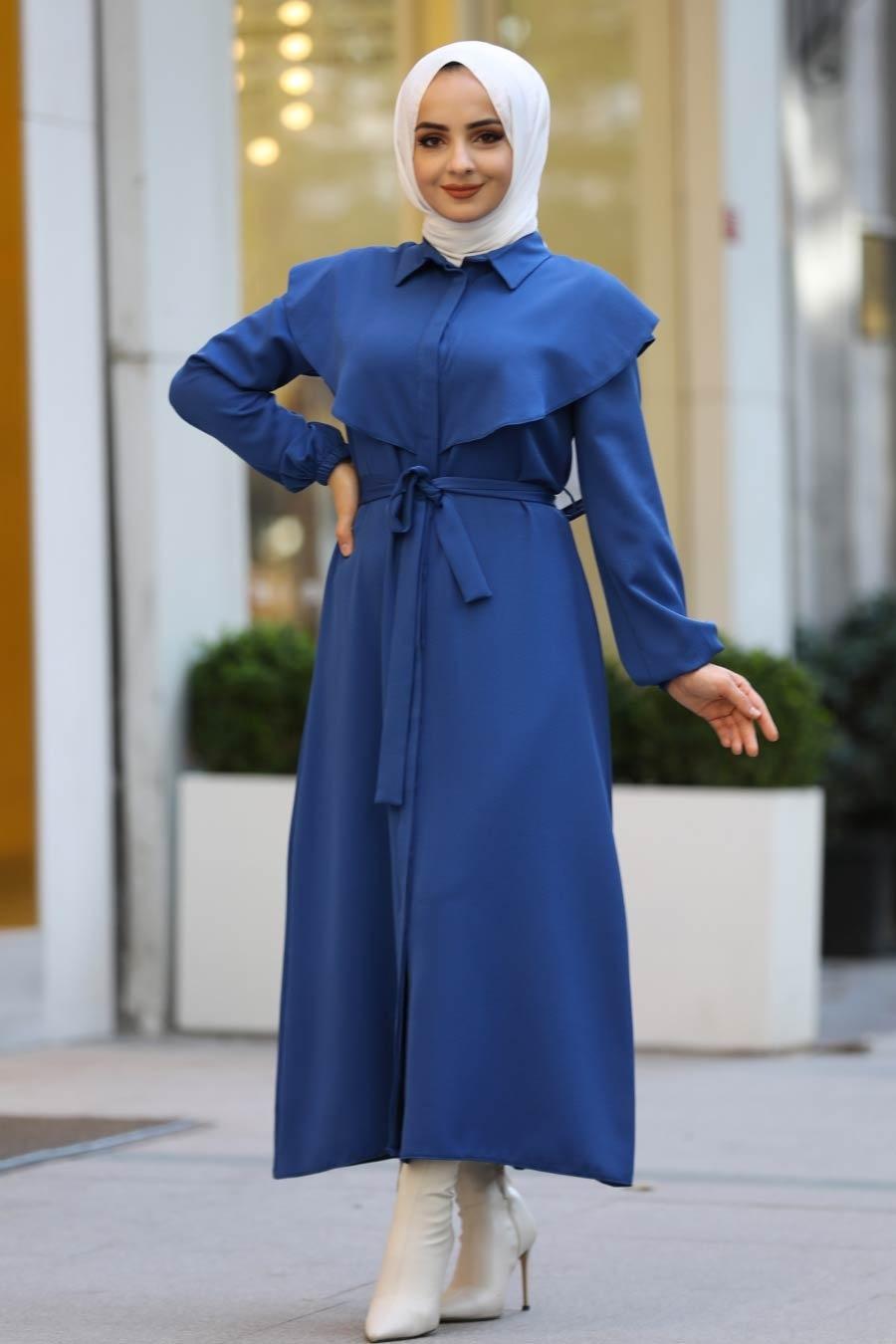 Neva Style - Kuşaklı İndigo Mavisi Tesettür Elbise 4331IM