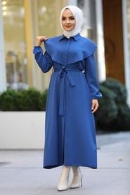 Neva Style - Kuşaklı İndigo Mavisi Tesettür Elbise 4331IM - Thumbnail