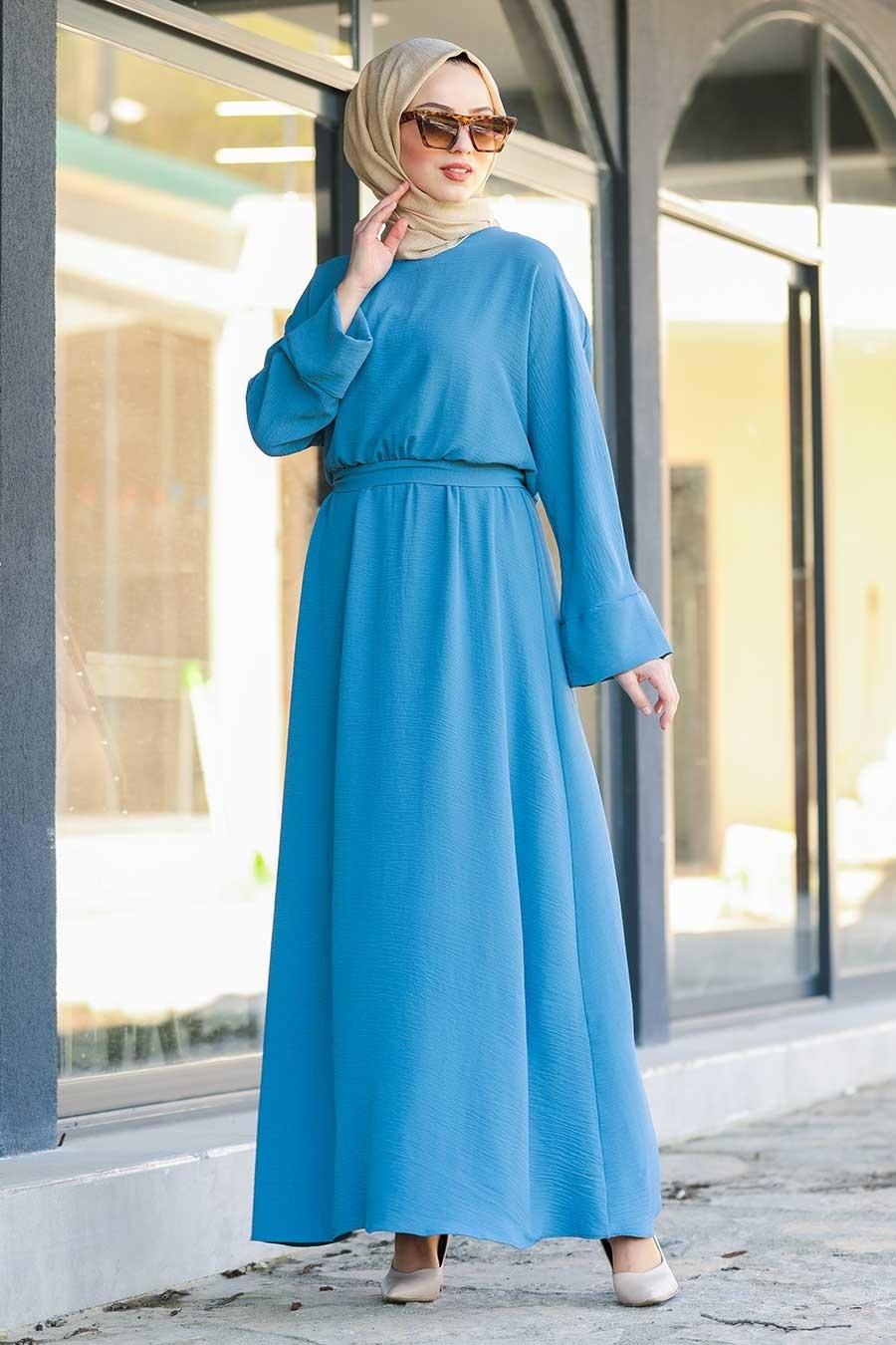 Neva Style - Kuşaklı İndigo Mavisi Tesettür Elbise 5013IM