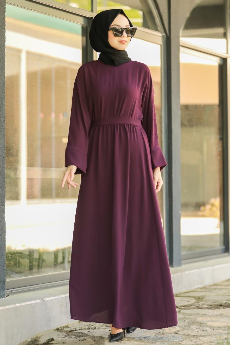 Neva Style - Kuşaklı Mürdüm Tesettür Elbise 5013MU