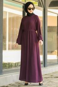 Neva Style - Kuşaklı Mürdüm Tesettür Elbise 5013MU - Thumbnail