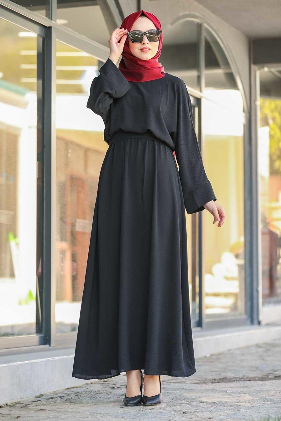 Neva Style - Kuşaklı Siyah Tesettür Elbise 5013S