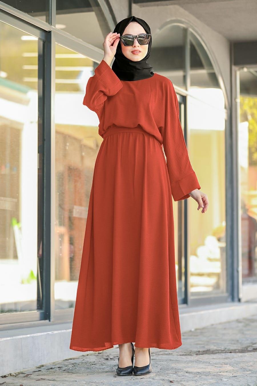Neva Style - Kuşaklı Taba Tesettür Elbise 5013TB