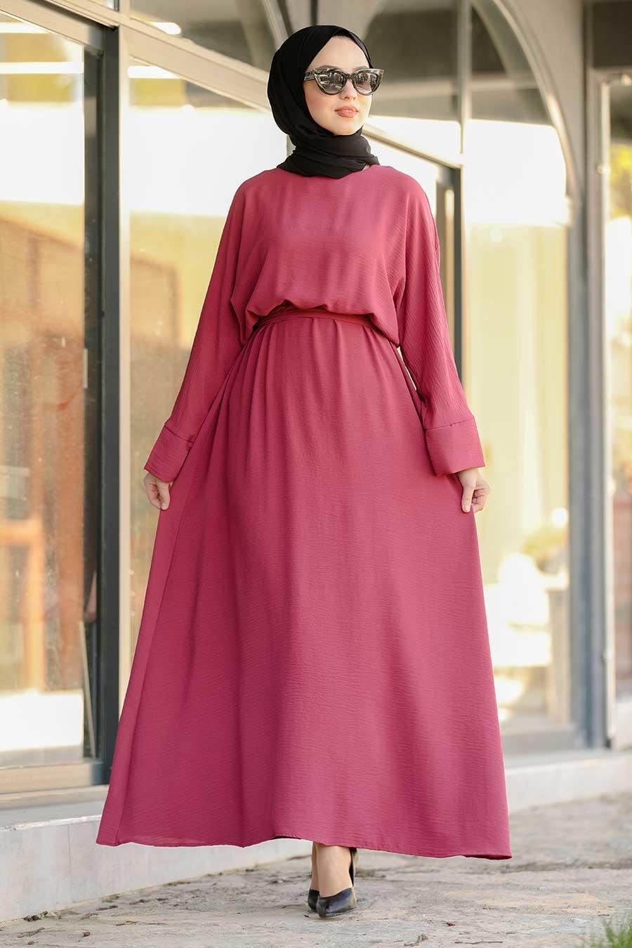 Neva Style - Kuşaklı Vişne Tesettür Elbise 5013VSN