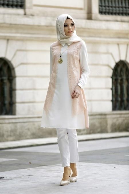 Neva Style - Lazer Kesimli Somon Tunik