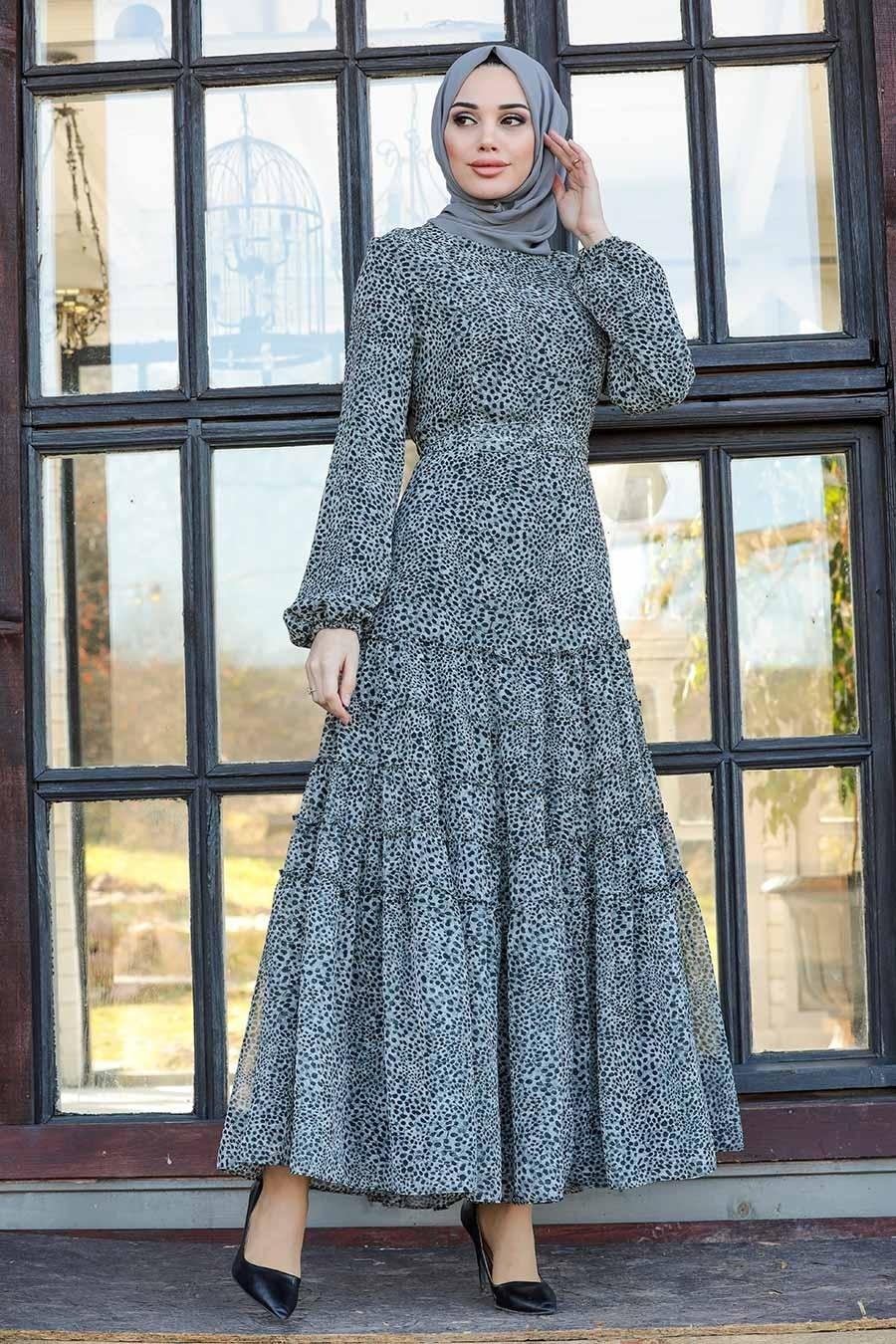 Neva Style - Leopar Desenli Gri Tesettür Elbise 27002GR