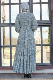 Neva Style - Leopar Desenli Gri Tesettür Elbise 27002GR - Thumbnail