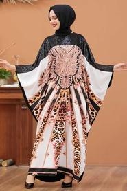 Neva Style - Leopar Desenli Siyah Tesettür Abaya 23401S - Thumbnail