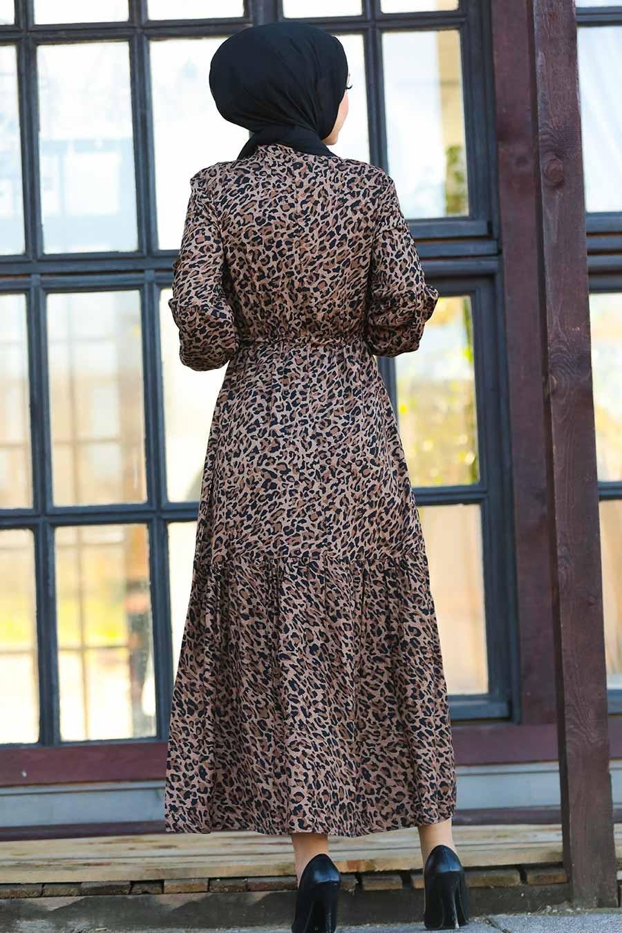 Neva Style - Leopar Desenli Tesettür Elbise 27620LP