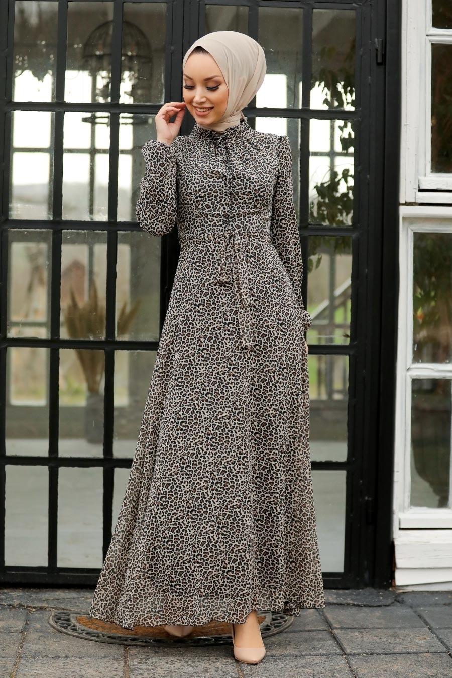 Neva Style - Leopar Desenli Tesettür Elbise 27904LP