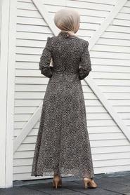 Neva Style - Leopar Desenli Tesettür Elbise 27904LP - Thumbnail