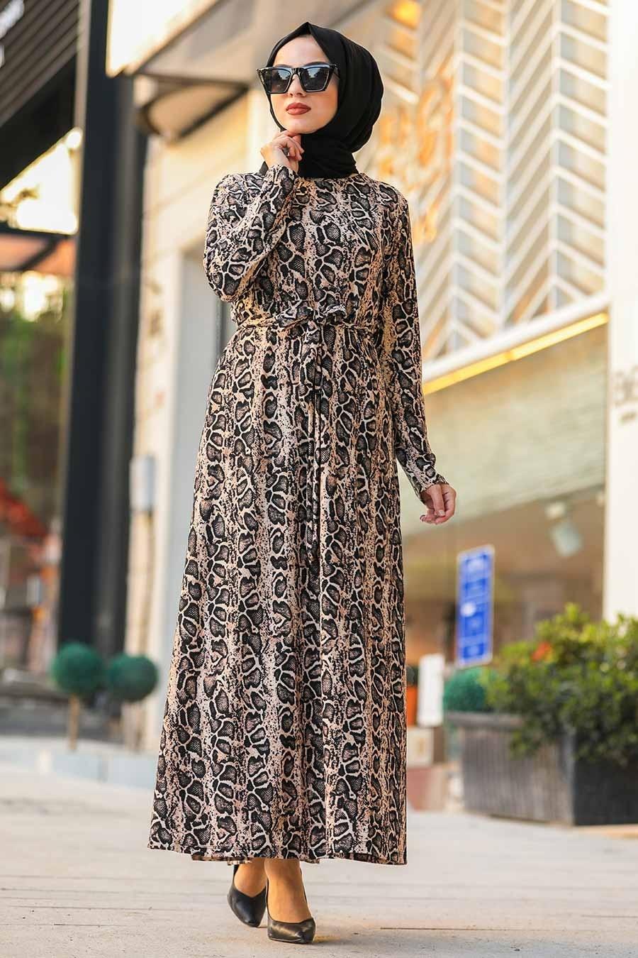 Neva Style - Leopar Desenli Tesettür Elbise 43090LP