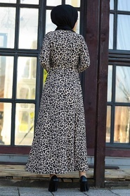 Neva Style - Leopar Desenli Tesettür Elbise 43092LP - Thumbnail
