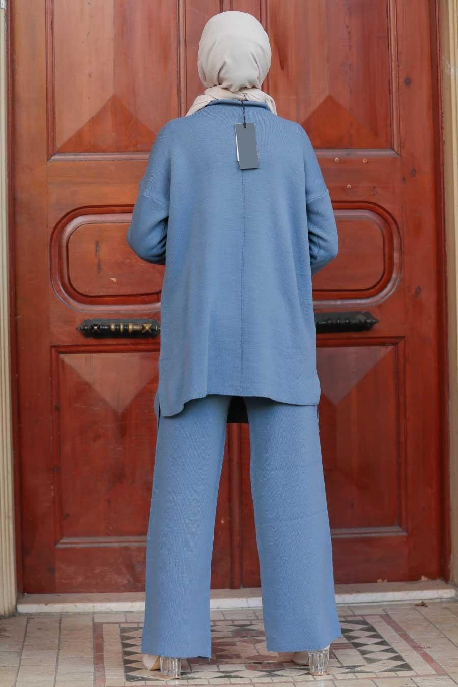 Neva Style - Mavi Tesettür Triko İkili Takım 1927M