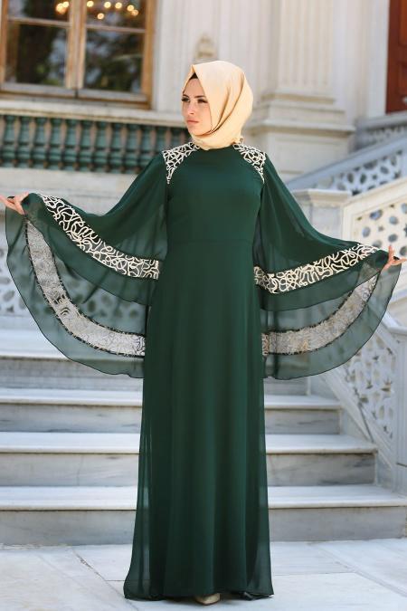 Neva Style - Omuzları Dantel Detaylı Yeşil Tesettür Abiye Elbise 52596Y