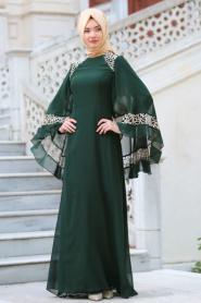 Neva Style - Omuzları Dantel Detaylı Yeşil Tesettür Abiye Elbise 52596Y - Thumbnail
