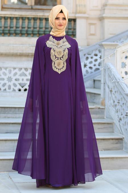 Neva Style - Önü Dantel Detaylı Kolları Tüllü Mor Tesettür Abiye Elbise 52569MOR