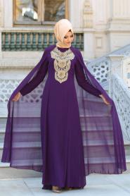 Neva Style - Önü Dantel Detaylı Kolları Tüllü Mor Tesettür Abiye Elbise 52569MOR - Thumbnail