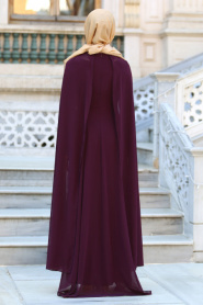 Neva Style - Önü Dantel Detaylı Kolları Tüllü Mürdüm Tesettür Abiye Elbise 52569MU - Thumbnail
