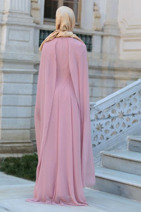 Neva Style - Önü Dantel Detaylı Kolları Tüllü Pudra Tesettür Abiye Elbise 52569PD