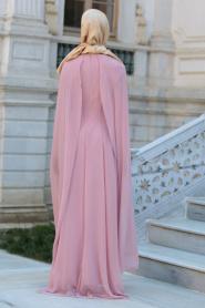 Neva Style - Önü Dantel Detaylı Kolları Tüllü Pudra Tesettür Abiye Elbise 52569PD - Thumbnail