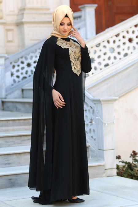 Neva Style - Önü Dantel Detaylı Kolları Tüllü Siyah Tesettür Abiye Elbise 52569S