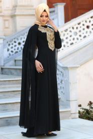 Neva Style - Önü Dantel Detaylı Kolları Tüllü Siyah Tesettür Abiye Elbise 52569S - Thumbnail