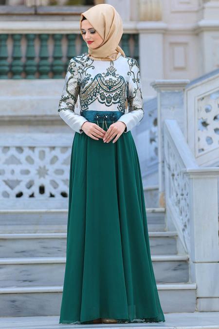 Neva Style - Önü Etnik Desen İşlemeli Yeşil Tesettürlü Abiye Elbise 2727Y