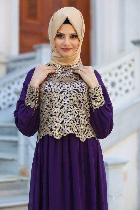 Neva Style - Önü Pul Payetli Mor Tesettür Abiye Elbise 52584MOR
