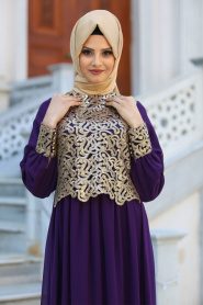 Neva Style - Önü Pul Payetli Mor Tesettür Abiye Elbise 52584MOR - Thumbnail