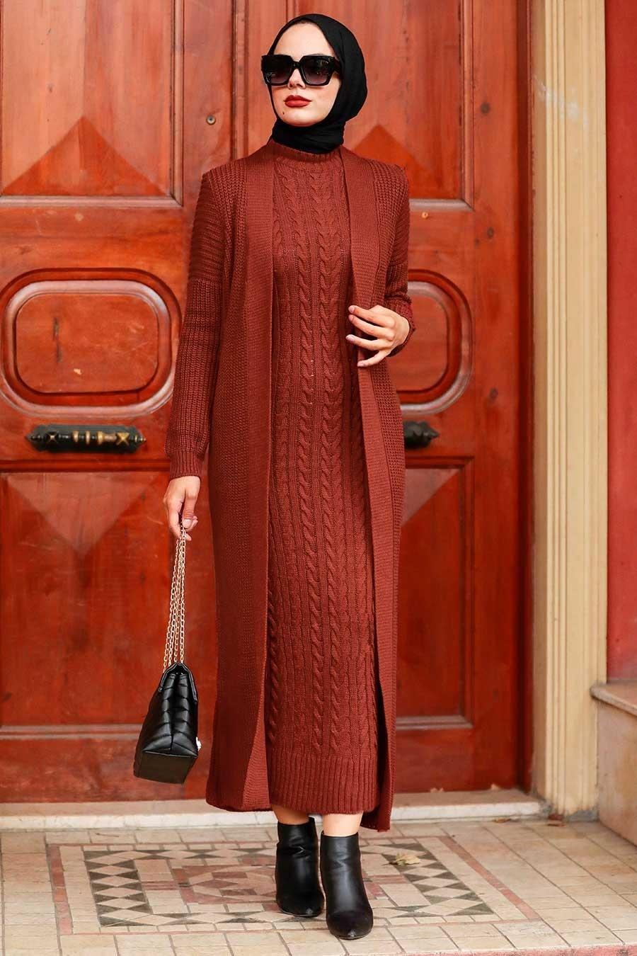 Neva Style - Örgü Elbiseli Kiremit Tesettür Triko İkili Takım 3171KRMT