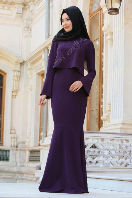 Neva Style - Payet Detaylı Mor Tesettür Abiye Elbise 10023MOR