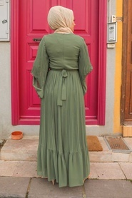 Neva Style - Pliseli Koyu Haki Tesettür Elbise 2884KHK - Thumbnail