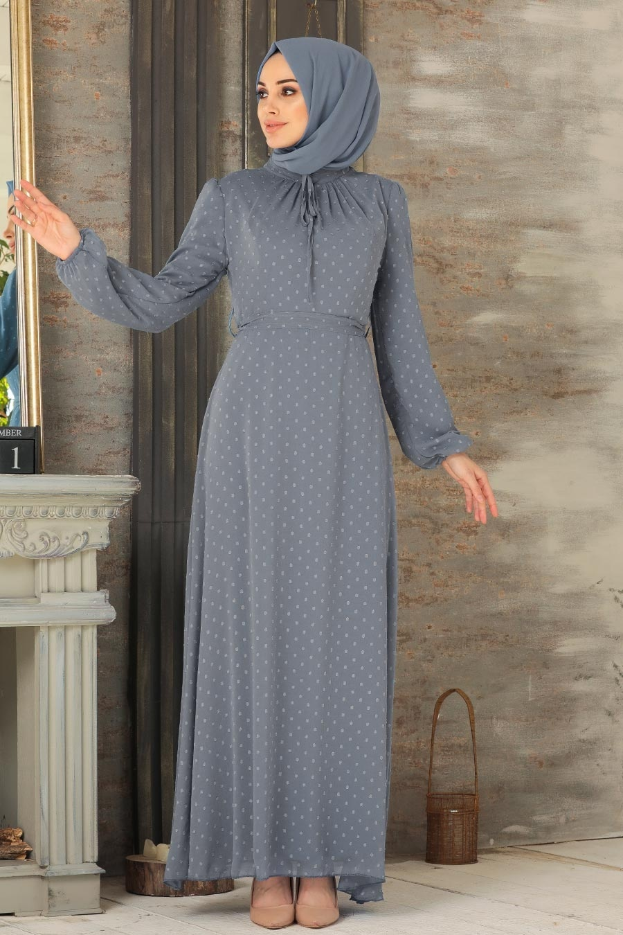 Neva Style - Puantiyeli Gri Tesettür Elbise 2734GR