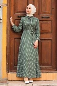 Neva Style - Puantiyeli Haki Tesettür Elbise 27909HK - Thumbnail