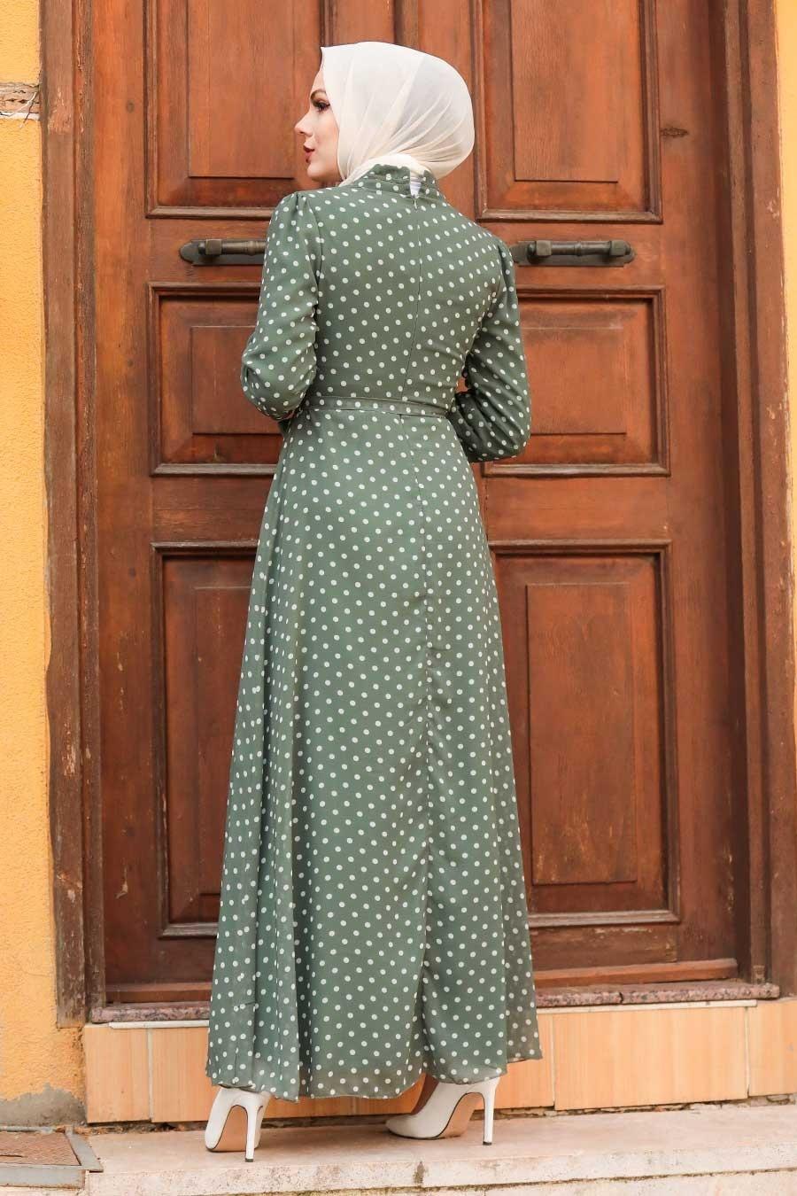 Neva Style - Puantiyeli Haki Tesettür Elbise 27909HK