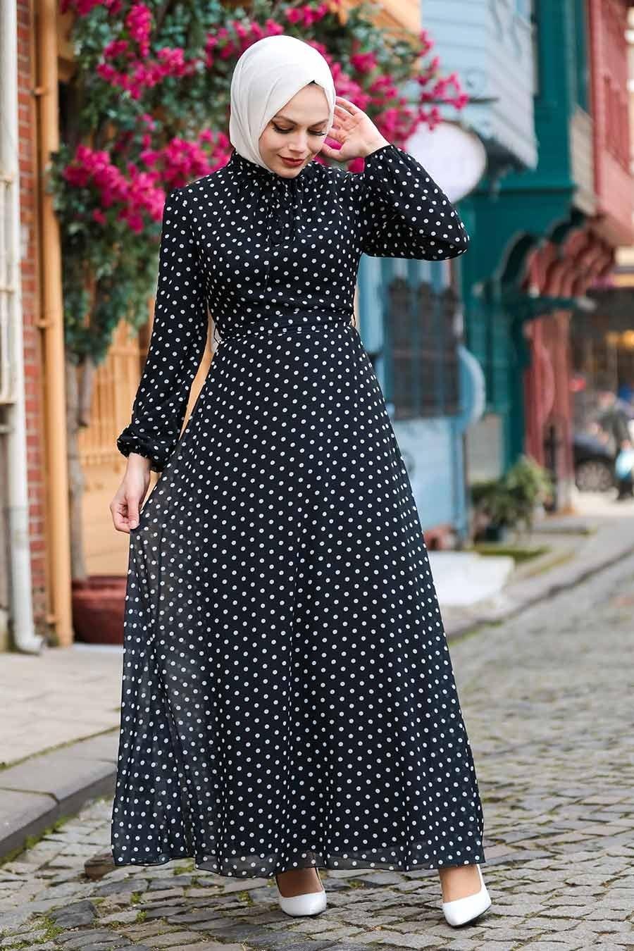 Neva Style - Puantiyeli Siyah Tesettür Elbise 27909S