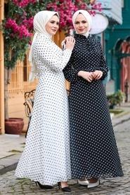 Neva Style - Puantiyeli Siyah Tesettür Elbise 27909S - Thumbnail